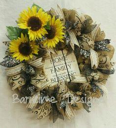 "Blessings! Burlap wreath, 22"", #060215. $62 Sunflower wreath - family wreath -gift wreath"