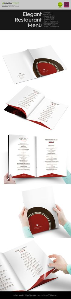 Elegant Restaurant Menù  This item is available for sale on Envato MarketPlace http://graphicriver.net/item/elegant-restaurant-menu/9442752