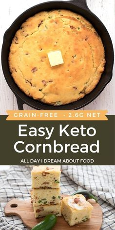 A delicious skillet keto cornbread that tastes like the real deal! Add crumbled bacon and chopped jalapeño for an amazing taste sensation.