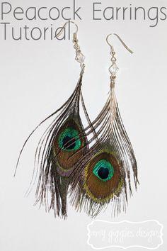 Peacock Feather Earrings Tutorial love it! must try! #ecrafty