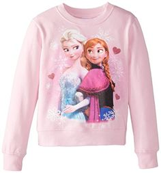 Frozen Little Girls Elsa and Anna Crew Neck Long Sleeve Top Light Pink 4 >>> Read more reviews of the product by visiting the link on the image.