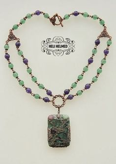 Jasper, amethyst and smaragd gemstone pendant necklace by Heli Helmed