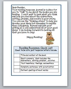 Third Grade Thinkers: Independent Reading and the Reading Journal ~Like the wording for the reading response
