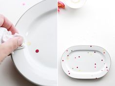 Easy patterned plates and platters. Punch a special foil, let dry 24 hours, heat set in the oven. Perfect for thrifted dishes (thinking they could cover little stains).
