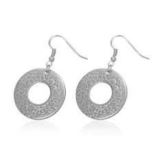 65aacdce1 HAMMERED DISC DROP HYPOALLERGENIC EARRINGS. Solace Jewellery