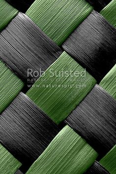 Traditional indigenous Maori weaving of flax leaves and fibre (Phormium sp. Green and black toned, New Zealand (NZ) stock photo. Quality New Zealand images by well known photographer Rob Suisted, Nature's Pic Images. New Zealand Image, Maori Designs, Kiwiana, Cross Patterns, Basket Weaving, Jewelry Crafts, Pattern Design, Mosaic, Design Market