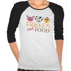 "Friends Not Food Tee Shirts. Sweet design featuring a cartoon pig, cow and chicken with the words ""Friends, not Food"" printed below. Perfect gift for the vegans and vegetarians in your life, or for anyone who supports a compassionate, non-violent lifestyle. Peace."