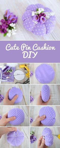 How to sew cute fabric pin cushion in 30 min Sewing Hacks, Sewing Crafts, Sewing Tips, Sewing Tutorials, Sewing Ideas, Felt Crafts, Diy And Crafts, Diy Couture, Sewing Pillows