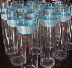 Discover thousands of images about Wedding Centerpieces Rhinestone Crystal Aqua Ribbon Cylinder Vases tall Cylinder Vase Centerpieces, Blue Wedding Centerpieces, Glass Cylinder Vases, Diy Centerpieces, Wedding Decorations, Wedding Ideas, Tiffany Blue Centerpieces, Turquoise Centerpieces, Candle Decorations