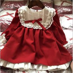 Dress vintage red baby Girls princess Dress Lace long sleeve New Year – I sell what I love Vintage Girls Dresses, Vintage Baby Clothes, Fall Baby Clothes, Dress Vintage, Baby Girl Princess, Princess Frocks, Princess Dress Kids, Girls Party Dress, Baby Girl Dresses