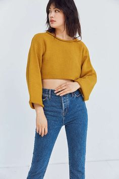 Slide View: 4: Silence + Noise Roll-Neck Cropped Sweater yellow UO