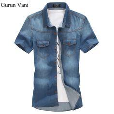 New 2017 Men s Shirts Short-Sleeved 2 Pockets Blue Denim Shirt Men Summer Chemise  Homme Slim Fit Casual Mens Jeans Shirt 47f8b347eee
