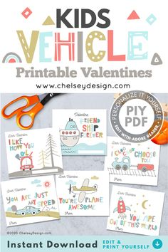 "EDITABLE Valentines for Kids! Personalize these Kids Vehicle Valentines yourself!  You have the OPTION of editing the ""From"" name in Adobe Reader or Acrobat OR You can sign them yourself!  Super cute colour palette that would suit any kid who loves planes, trains, and automobiles!  #kidsvalentines #diyvalentines #editablevalentines #plane #car #rocket #train #ship"