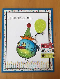 Birthday card with added hat.  (Pin#1: Crazies: Birds,... Pin+: Balloons...).