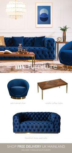 Blue Living Room Sets, Living Room Colors, New Living Room, Living Room Sofa, Country House Interior, Room Interior, Interior Design, Modern Lounge, Comfortable Sofa