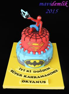 mavi demlik mutfağı- izmir butik pasta kurabiye cupcake tasarım- şeker hamurlu-kur: OKYANUSUN SPIDERMAN TEMALI 4. YAŞ PASTASI