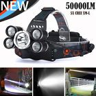 50000LM 5Head CREE XML T6 LED 18650 Headlamp Headlight Flashlight Torch Light