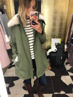 Dressing Room Diaries, Nordstrom Anniversary Sale. White and black striped sweater+dark skinny jeans+brown boots+khaki parka. Fall Casual Outfit 2017