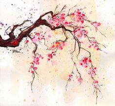 watercolor art. I like this for a tattoo idea - if I'm ever brave enough, it would definitely be cherry blossoms.: