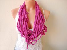 Dark magenta pink TShirt Infinity Scarf  frayed by boutiqueseragun, $16.00