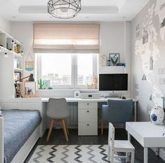 40 veľkých nápadov pre malé izby - sikovnik.sk Small Room Design Bedroom, Small Room Interior, Small Bedroom Storage, Design Living Room, Small Bedroom Office, Small Storage, Modern Bedroom, Modern Interior, Ikea Kids Bedroom