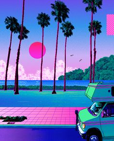 by pilgrim x Jugg Beats) by Child Heart & Young Tokio from desktop or your mobile device Vaporwave Wallpaper, Retro Kunst, Retro Art, Aesthetic Backgrounds, Aesthetic Wallpapers, Vaporwave Art, Japon Illustration, Neon Aesthetic, Retro Waves