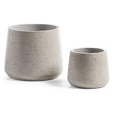 Set de 2 cache-pots Low, gris