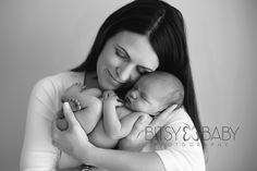 newborn photograph w mom bw
