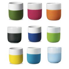 Contrast Mugs from Royal Copenhagen. Designed by H.C. Giedde, the porcelain pieces, which have pleasing ridges like a ramekin, come sheathed in a brightly colored silicone sleeve that helps prevents slippage and protects fingers from the heat.