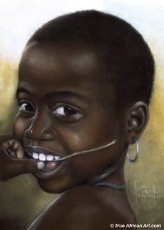 Smile by African Artist Abdul Badi | Paintings of People