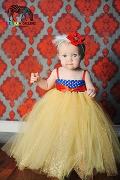 Snow White Inspired Princess Tutu Dress -- Empire Waist, Royal Blue, Yellow, and Red. $29.00, via Etsy.