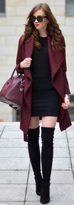 Burgundy Medicine Coat, LBD, Burgundy Givenchy Bag, Stuart Weitzman Boots | Burgundy On Burgundy On Black Winter Street Style | Vogue Haus