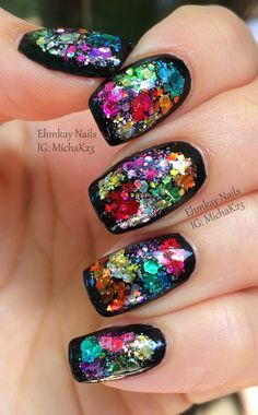 Guest Post: Color Block Glitter Framed Nail Art with Ehmkay Nails - Cosmetic Sanctuary
