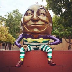 """Happy humpday from the Visit Mesa team and """"Humpty Dumpty""""  He is part of Downtown Mesa's Permanent Sculpture Collection"""