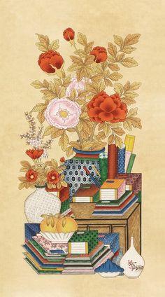 책가도(책거리 그림)를 시작했다8폭그림중 2폭을 선택. 책가도는 책이 주체이기 때문에 반듯하게 선을 치는... Korean Painting, Chinese Painting, Chinese Art, Geisha Kunst, Geisha Art, Illustration Blume, Pattern Illustration, Korean Art, Asian Art