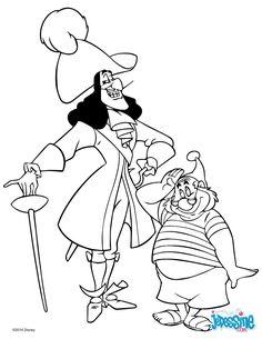 Un joli coloriage de Peter Pan avec Mouche et le capitaine Crochet. Un dessin parfait qui plaira à tous les enfants fans des contes Disney.
