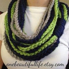 If the Hawks are in the Superbowl, I might need to make this.  UNIQUE Crochet Infinity Chain Scarf -  NFL -  Seattle Seahawks - (Home Version)