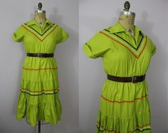 1950s Patio Dress / 50s Lime Green Squaw Dress by livinvintageshop