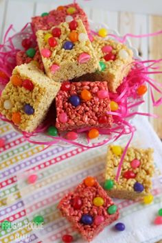 These easy to make and colorful Jelly Bean Rice Krispies Treats combine two family loved classics into one perfect sweet treat for Easter or spring #ad