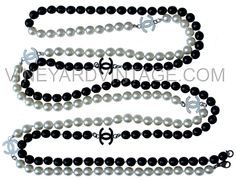 Chanel Black and White pearl logo necklace