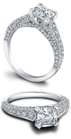 The Hazelle Jeff Cooper engagement ring, shown here with an asscher cut center stone. Via Diamonds in the Library.