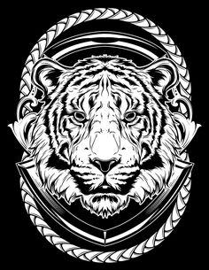 Plain & Simple on Behance Full Arm Tattoos, Body Art Tattoos, Tiger Art, Tiger Head, Tiger Illustration, Animal Stencil, Jaguar, Lion Art, Tiger Tattoo