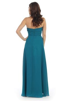 Long Chiffon Plus Size Bridesmaid Formal Evening Pleated Dress - The Dress Outlet - 17