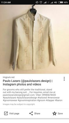 Barong, O Design, Dapper, Groom, Menswear, Photo And Video, Suits, Sweaters, Image