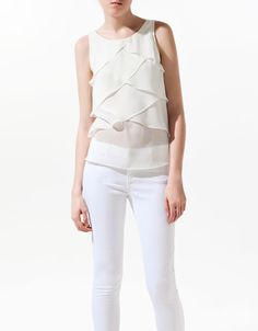 TOP WITH FRILLS AT THE FRONT - Shirts - Woman - ZARA United States