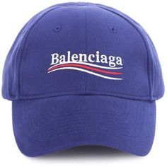 Balenciaga Embroidered Cotton Baseball Cap ($360) ❤ liked on Polyvore featuring accessories, hats, blue, embroidered ball caps, ball cap, blue hat, balenciaga and blue baseball hat