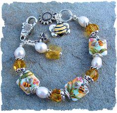 Sharing my newest jewelry design... Sweet Honey Bee  -  Lampwork  Bead Bracelet!!! www.javabead.com