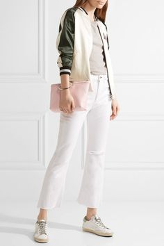 Baby-pink textured-leather Zip fastening along top