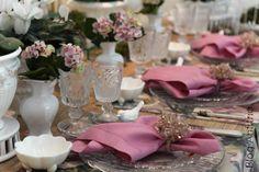 decoração mesa rosa