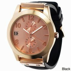 Fashionable Platinum Silicone Watch with Rose-Tone Dial